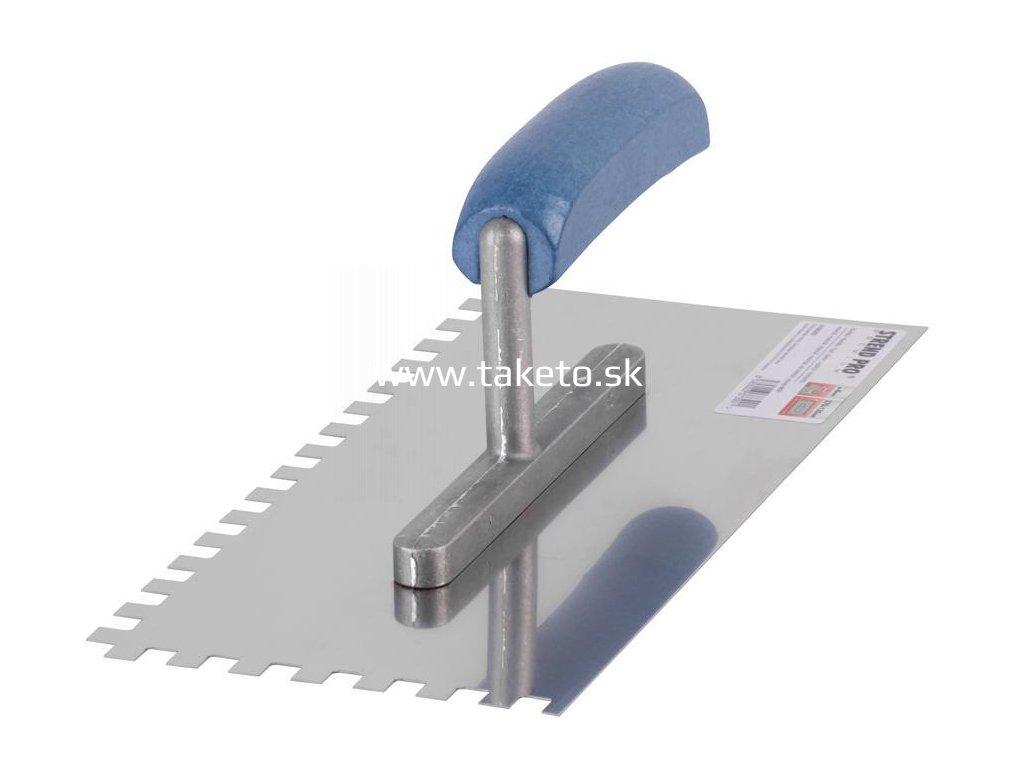Hladítko nerez Strend Pro Premium, 270x130 mm, s drevenou rukoväťou zuby 6x6 mm  + praktický Darček k objednávke