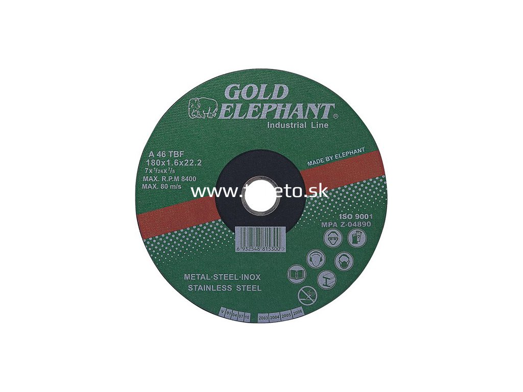 Kotúč Gold Elephant 41AA 115x1,0x22,2 mm, rezný na kov a nerez A46TBF  + praktický pomocník k objednávke