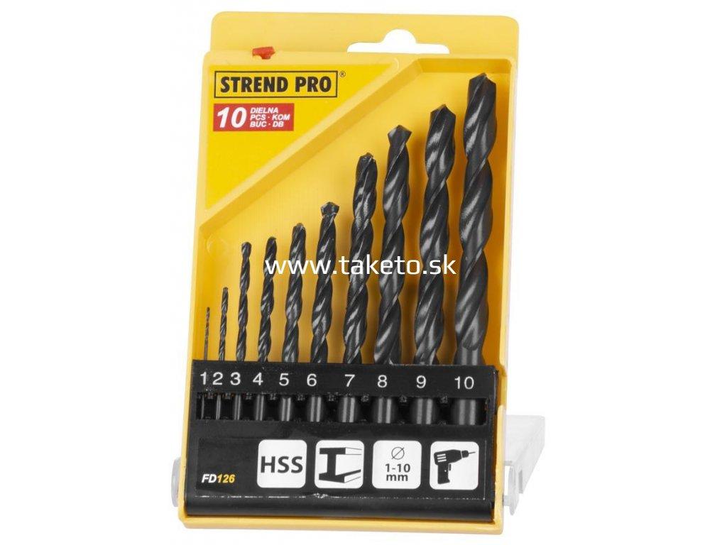 Sada vrtákov Strend Pro FD126, 10 dielna, 1-10 mm, HSS, do kovu  + praktický pomocník k objednávke