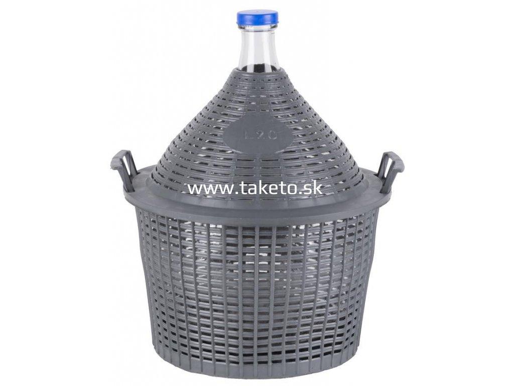 Demižón Strend Pro Cada Inco, sklo/plast, 20 lit., 485x390/305 mm  + praktický pomocník k objednávke