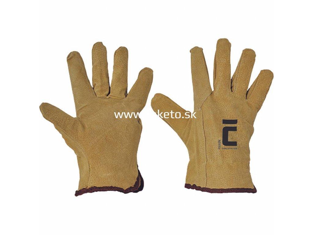 Rukavice PIGEON 10, kožené, bravčovina, pánske  + praktický pomocník k objednávke