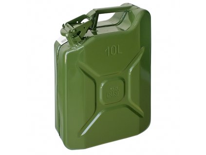 Kanister Jerican 10 lit, kovový, GS/TUV, zelený, RAL6003  + praktický pomocník k objednávke