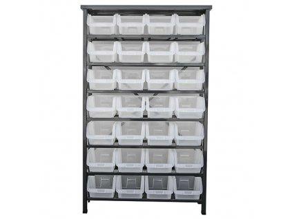 Stojan s plastovými boxami HL3205, 28 zásobníkov, 94x30x150 cm  + praktický pomocník k objednávke