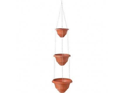 Kvetináč závesný s retiazkou Roma cascade I, tehlový, 2+3  + praktický pomocník k objednávke