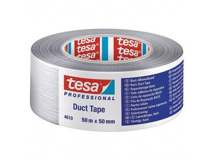 Páska tesa® BASIC Duct Tape, strieborná, textilná, 50 mm, L-50 m  + praktický pomocník k objednávke