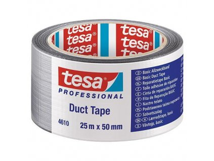 Páska tesa® BASIC Duct Tape, strieborná, textilná, 50 mm, L-25 m  + praktický pomocník k objednávke