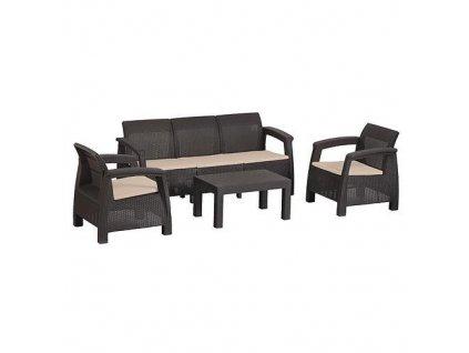 Set terasový BAHAMA, Mocca hnedá, stôl, kreslo 3+1+1  + praktický pomocník k objednávke