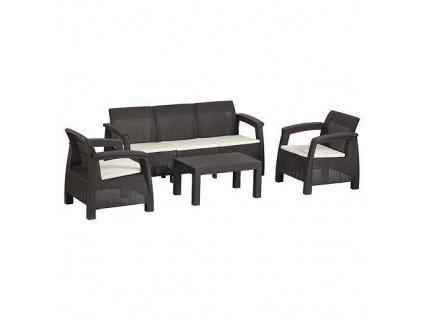 Set terasový BAHAMA, Mocca béžová, stôl, kreslo 3+1+1  + praktický pomocník k objednávke