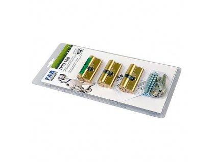 Suprava cylindrických vložiek FAB TRIO 3, 100RSD 29+35, 6 kľúčov, sada 3ks, Ms  + praktický Darček k objednávke