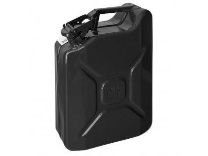 Kanister Jerican 20 lit, kovový, GS/TUV, čierny, RAL9005  + praktický pomocník k objednávke