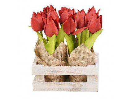 Tulipány MagicHome CX0147, 20 cm, obal - ľan, drevo  + praktický pomocník k objednávke