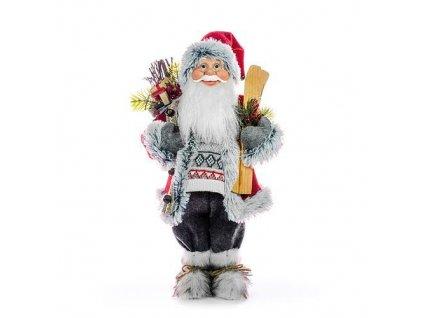 Dekoracia MagicHome, Santa s lyžami a drevom, 152 cm  + praktický Darček k objednávke