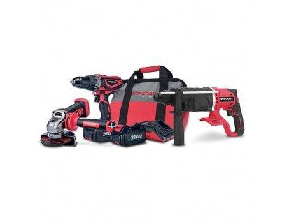 Set Worcraft WSET-07, S20Li kladivo, uhlová brúska, skrutkovač, nabíjačka, 2x accu + brašňa  + praktický pomocník k objednávke