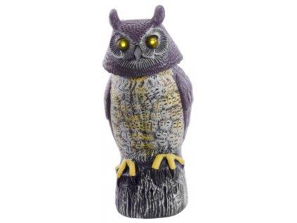 Plašič vtákov, Sova, solárna, svietiace oči ,otáčajúca hlava, 43cm  + praktický pomocník k objednávke