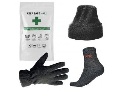 Darčekový set - KEEP SAFE dezinfekcia, čiapka, rukavice, ponožky  + praktický pomocník k objednávke