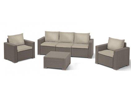 Set terasový Allibert CALIFORNIA, cappuccino/sand, stôl, 2x kreslo, 1x trojkreslo  + praktický pomocník k objednávke