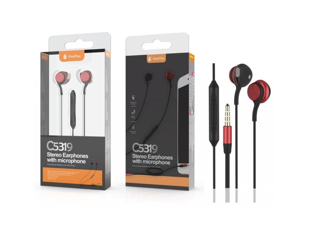 Sluchátka PLUS C5319 s mikrofonem, černo červená
