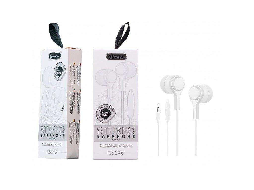 Sluchátka PLUS C5146 s mikrofonem, bílá