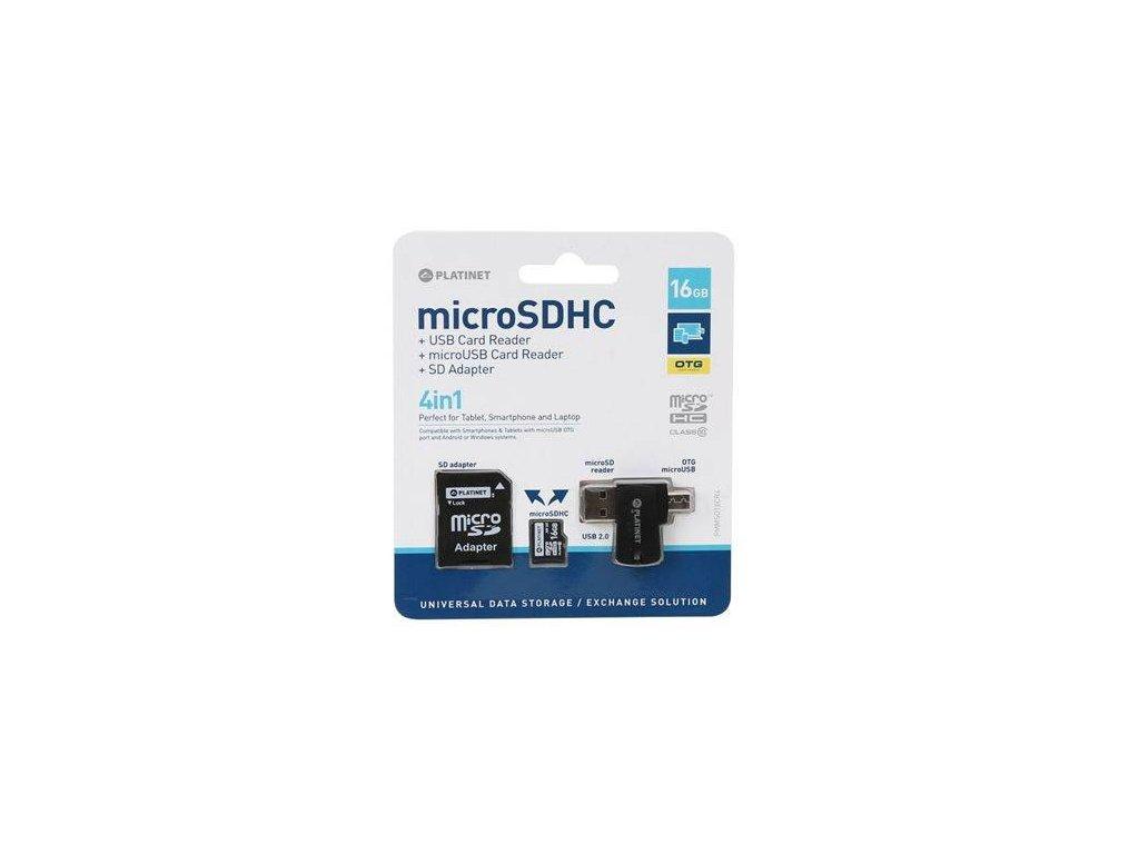 PLATINET Micro SDHC 4v1 16GB (PMMSD16CR4)