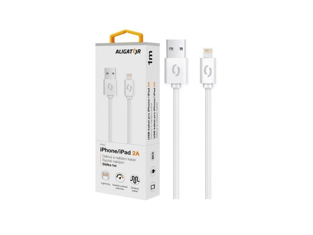 Datový kabel ALIGATOR 2A iPhone lightning 1m, bílý