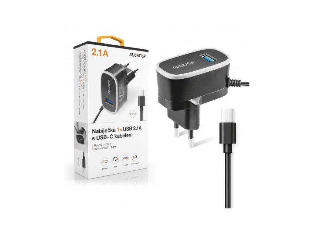 Nabíječka ALIGATOR USB-C s USB výstupem 5V/2,1A, černá