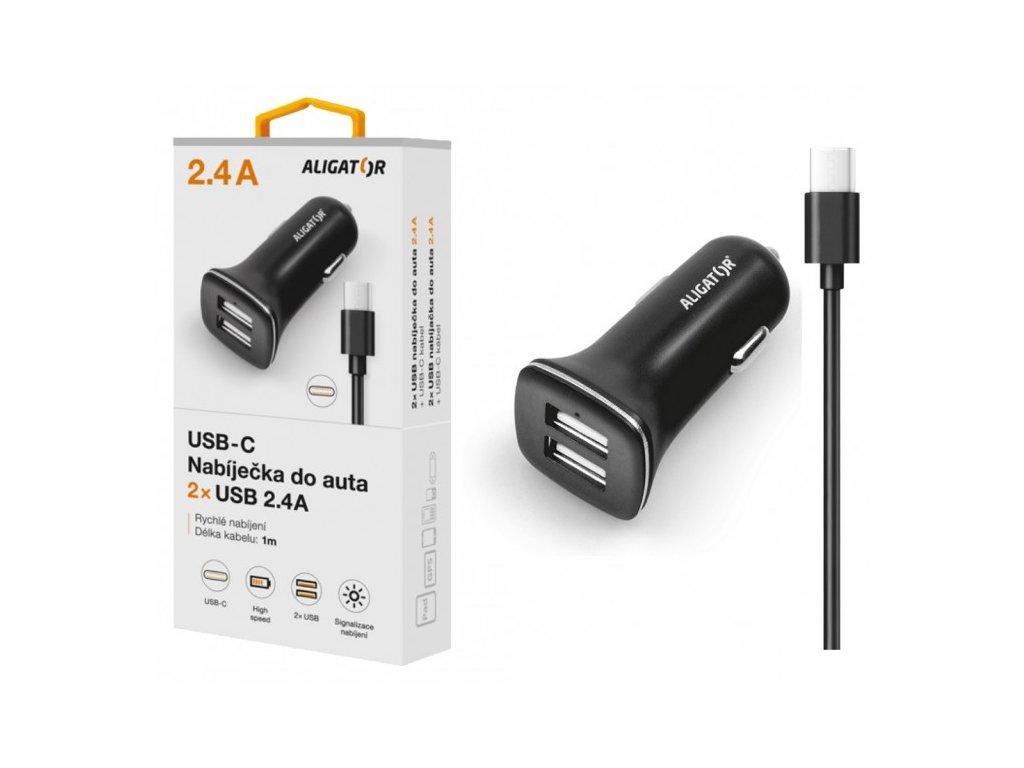 Nabíječka do auta ALIGATOR USB-C s 2xUSB výstupem 2,4A, Turbo charge, černá