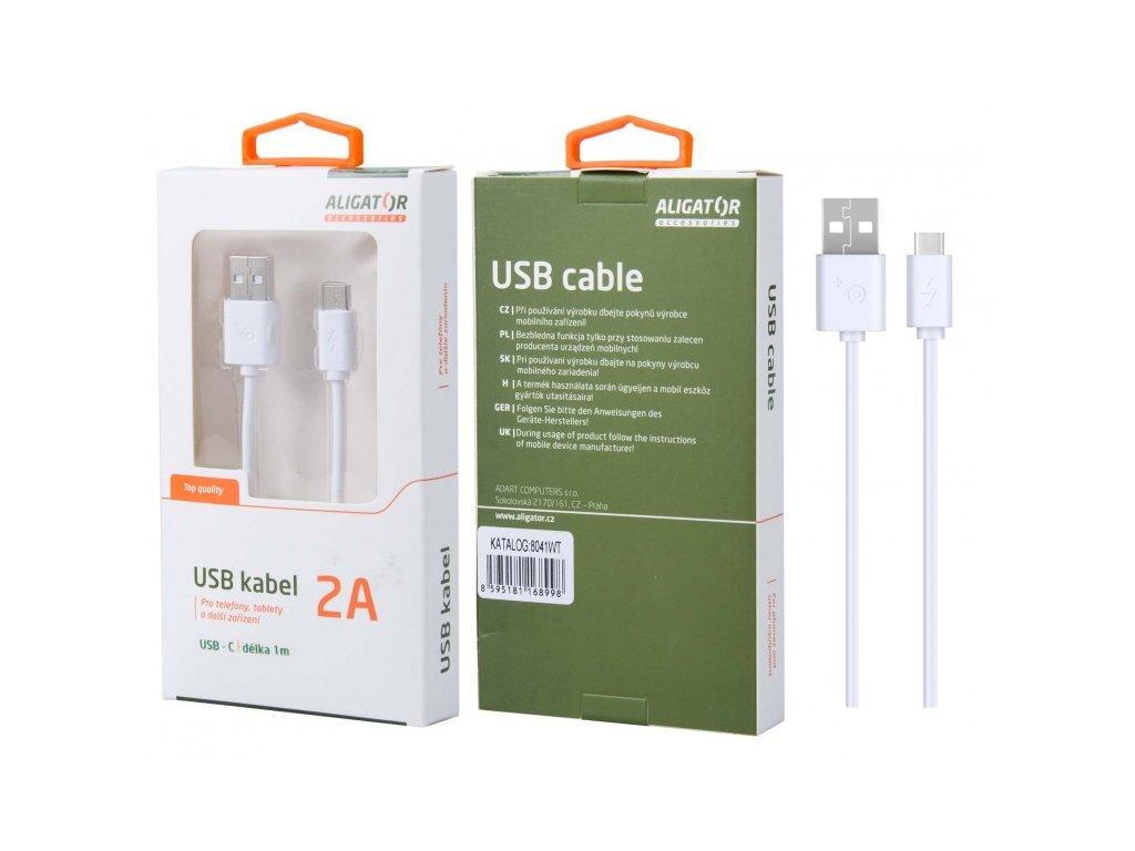 Datový kabel ALIGATOR 8041, USB-C, 2A, USB 2.0, bílý
