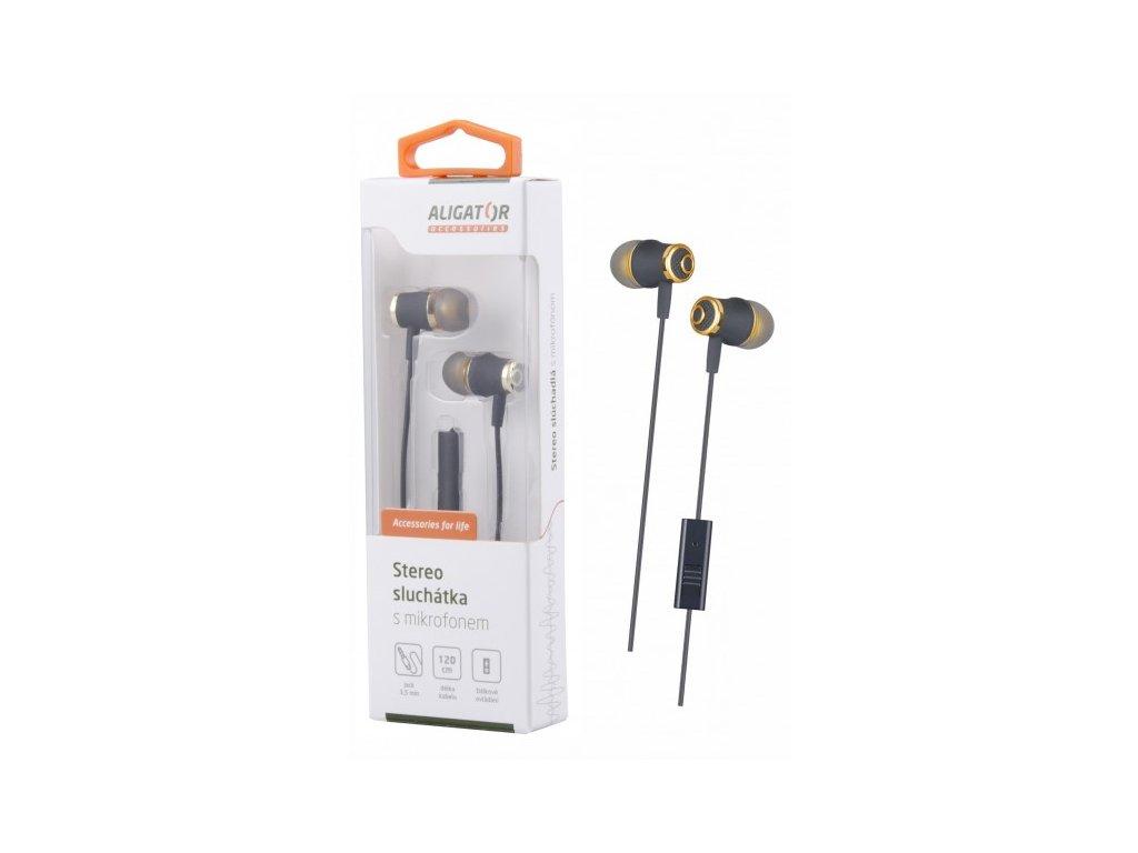 ALIGATOR HF/sluchátka AE02 Bass Dynamic, zlatá