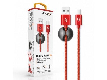 Datový kabel ALIGATOR PREMIUM 2A, USB-C červený