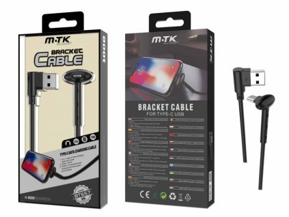 Datový kabel PLUS BT657 USB-C, stojánek, 2A, černý