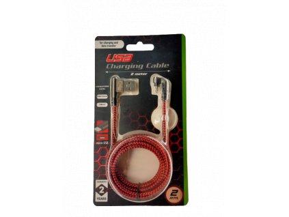 USB nabíjecí a synchronizační kabel úhlový ,oplet 2m Micro USB