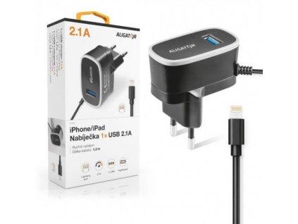 Nabíječka ALIGATOR pro iPhone s USB výst 5V/2,1A, černá