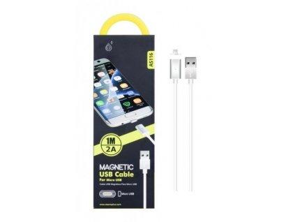 Nabíjecí kabel PLUS, MicroUSB, magnetický (AS116), bílý