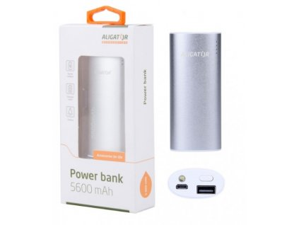 Aligator Powerbanka PB560SR  Power banka 5600mAh, se SVÍTILNOU, stříbrná