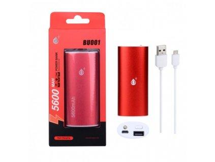 POWER BANK PLUS BU001 se svítilnou 5600mAh,červená