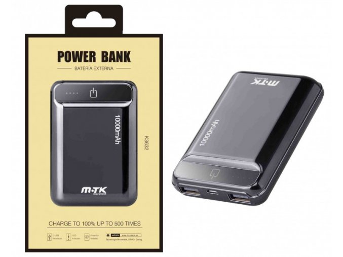Power Bank PLUS K3632 s 2USB, 10000mAh, černá