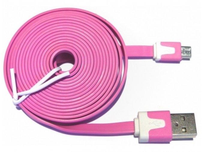 Datový kabel NOODLE microUSB nabíjecí pink