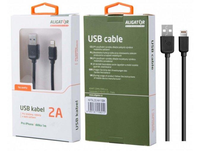 Datový kabel ALIGATOR AA110, iPhone lightning, černý