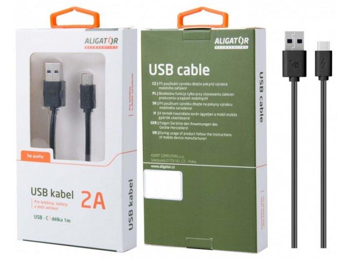 Datový kabel DKAC82BK , USB-C, 2A, 1m, prodloužený konektor 9mm, černý