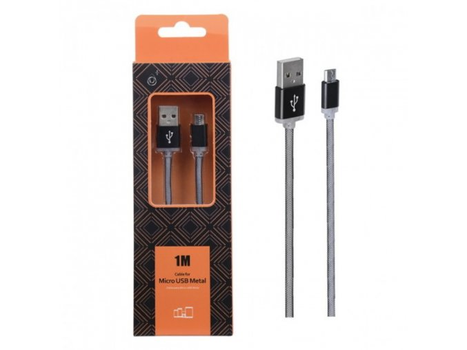 Datový a nabíjecí kabel PLUS AS110 METAL MicroUSB, 1M - černý