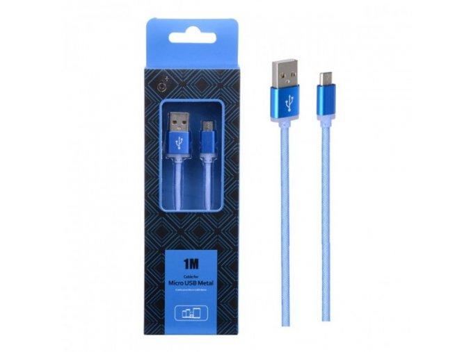 Datový a nabíjecí kabel PLUS AS110 METAL MicroUSB, 1M - modrý
