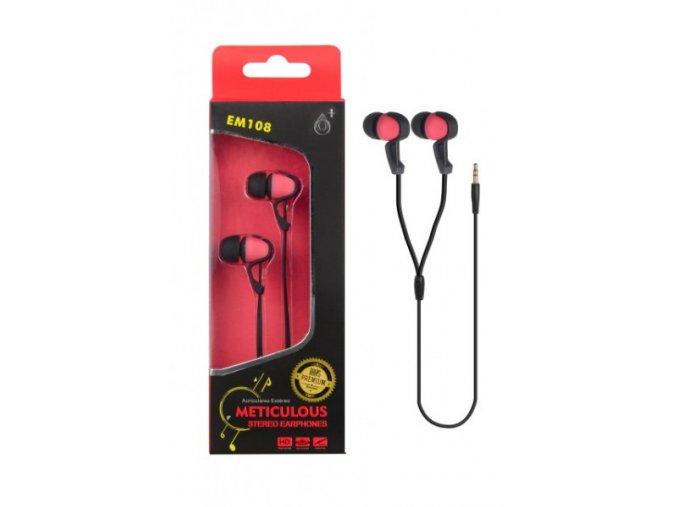 Sluchátka do uší stereo PLUS, (EM108), červená