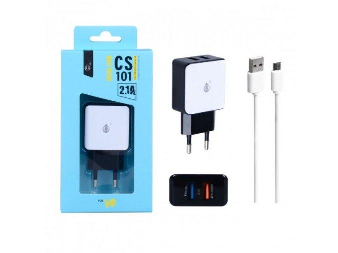 Nabíječka PLUS CS101, 2xUSB výstup + kabel MicroUSB 5V/2,1A - bílá