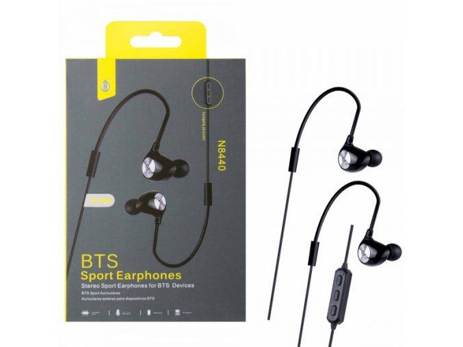 Bluetooth sportovní sluchátka do uší PLUS N8440, černá
