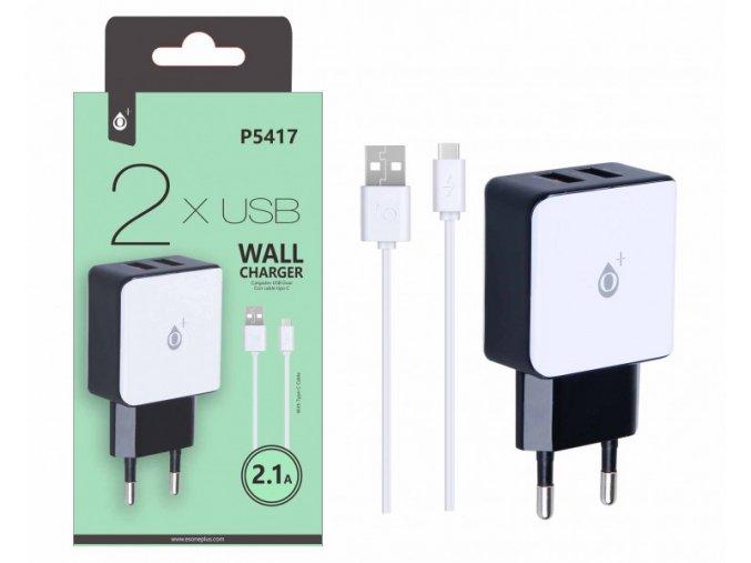 Nabíječka PLUS P5417, Type-C kabel + 2xUSB výstup 5V/2,1A - bílá
