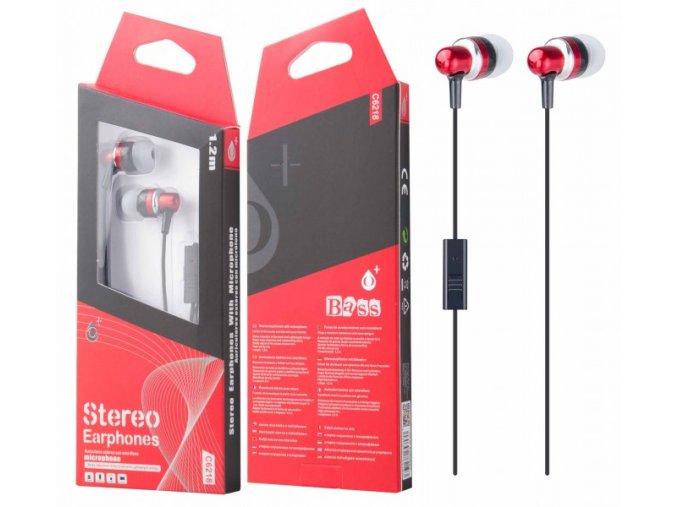 Sluchátka do uší PLUS, s mikrofonem, (C6218), červená