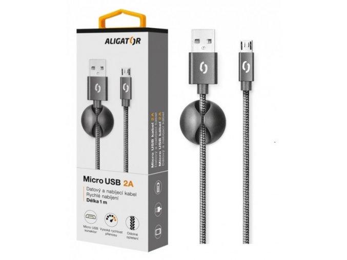 Datový kabel ALIGATOR PREMIUM 2A, Micro USB černý (DATKP01)