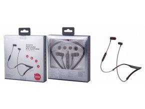 Bluetooth HF sluchátka do uší PLUS, s mikrofonem a tlačítkem C6192 sport na krk, černo-červená