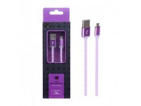 Datový a nabíjecí kabel PLUS AS110 METAL MicroUSB, 1M - fialový