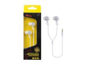 Sluchátka do uší stereo PLUS, (EM108), bílá